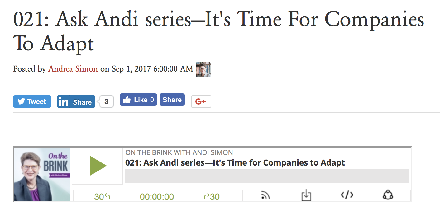 Ask Andi podcast about time to change
